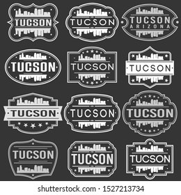 Tucson Arizona Skyline. Premium Quality Stamp Frames. Grunge Design. Icon Art Vector. Old Style Frames.