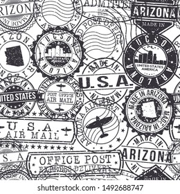 Tucson Arizona Stamps. City Stamp Vector Art. Postal Passport Travel. Design Set Pattern.