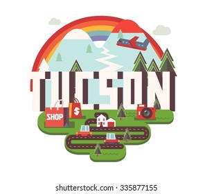 Tucson city logo in colorful vector