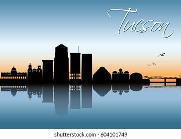 Tucson skyline - Arizona - vector illustration
