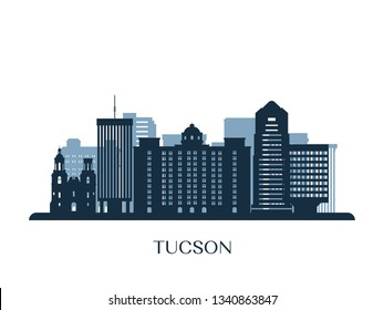 Tucson skyline, monochrome silhouette. Vector illustration.