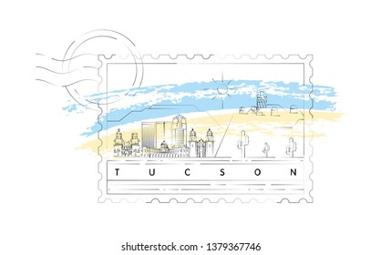 Tucson stamp skyline vector illustration and typography design