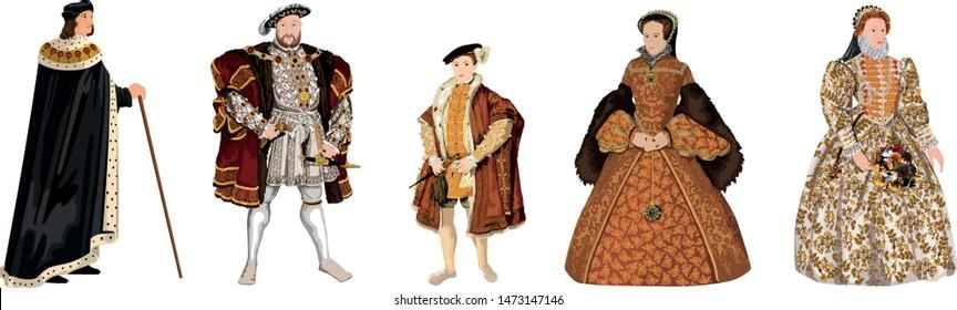 Tudor Dynasty - Crowned Kings & Queens of Tudor England - Henry VII, Henry VIII, Edward VI, Mary I, Elizabeth I