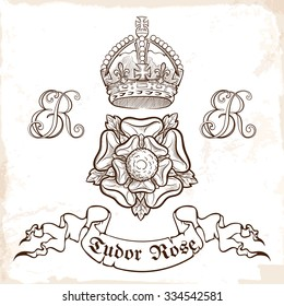 Tudor dynasty royal symbols. Sketch style drawing. EPS10 vector illustration.