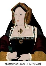 Tudor Queen Catherine of Aragon, wife of Henry VIII Vector
