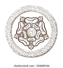 Tudor rose in a circular Celtic frame. Traditional heraldic emblem of the Tudor dynasty widely used as ornamental motif in interior design. EPS10 vector illustration.