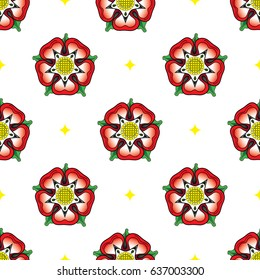 Tudor Rose seamless pattern. After the War of the Roses, the red rose of the house of Lancaster and the White rose of the house of York combined to make the dual colour Tudor rose. EPS10 vector format