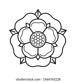 Tudor rose vector isolated icon. Traditional heraldic emblem of England. The war of roses of houses Lancaster and York.