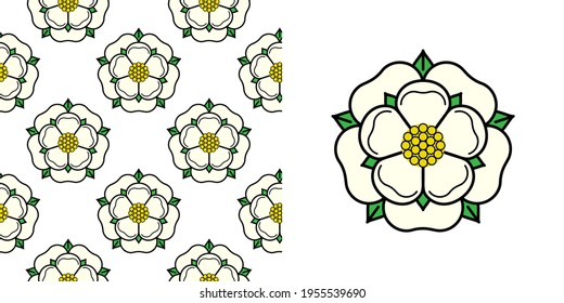 Tudor rose vector seamless pattern. Traditional heraldic emblem of England. The war of roses of houses Lancaster and York.