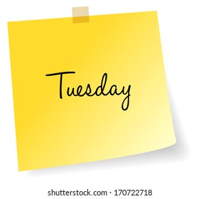 Tuesday Yellow Sticky Note