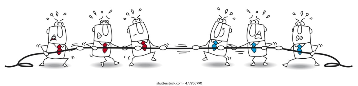 tug of war of business team. It's a concept of the competition in which two business teams pull at opposite ends of a rope and trying to pull their opponents over a imaginary line.