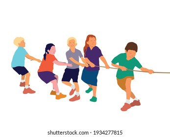 Tug of war children playing on illustration graphic vector