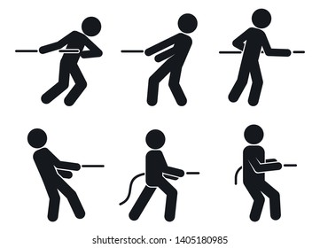 Tug of war pull icons set. Simple set of tug of war pull vector icons for web design on white background