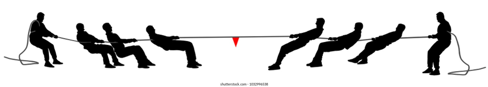 Tug of war vector silhouette illustration isolated on white background. Outdoor sport competition. Business people team building. Strong man discipline.