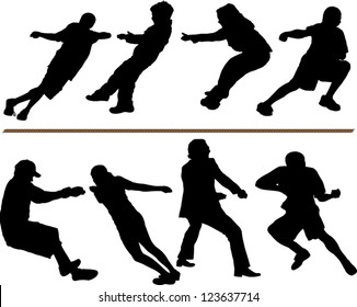Tug of war vector silhouettes. Adults, children and rope. Layered - each silhouettes is on a separate layer. Fully editable.