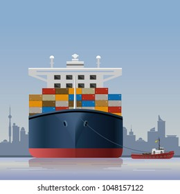 Tugboat towing a container ship on a city panorama background. Vector illustration