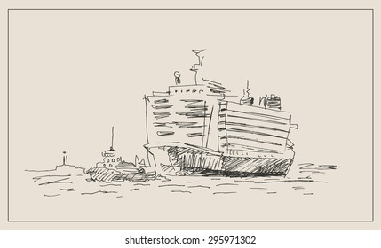 Tugboat or tug  pulling cargo container ship, in hand drawn sketch vintage style, for freight, seafaring, and trade commerce business  design