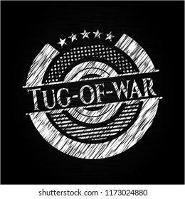 Tug-of-war written on a chalkboard