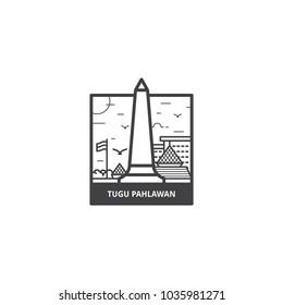 Tugu Pahlawan monumen Surabaya, Statue of hero landmark from Surabaya, Indonesia in icon illustration vector isolated