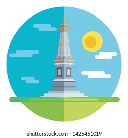 tugu yogyakarta : a monument or monument that is often used as a symbol or symbol of the city of Yogyakarta. style flat design