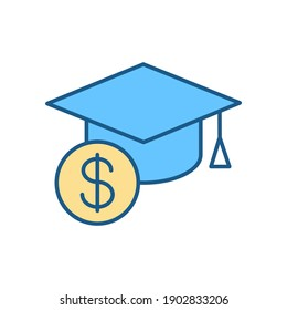 Tuition cost RGB color icon. Scholarship budget. Money for education. Price for education. Student loan. Savings for academic study. Mortarboard hat, dollar sign. Isolated vector illustration