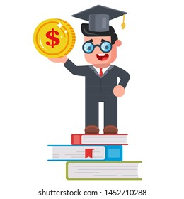 tuition fees. young student with a coin in his hands and standing on the books. good job after university. flat vector illustration