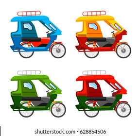 Tuk tuk. Motorized tricycle. Vector flat illustration.