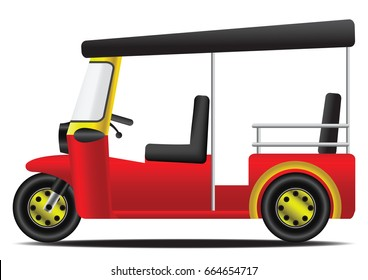 tuk tuk red and yellow thai engine tricycle with white background tricycle,vector illustration