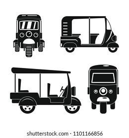 Tuk rickshaw tuktuk icons set. Simple illustration of 4 tuk rickshaw tuktuk vector icons for web