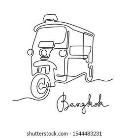 Tuk tuk taxi, Bangkok. Continuous line vector illustration