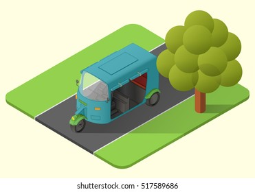 tuk tuk three wheeler asian vehicle vector isometric illustration. rickshaw mototaxi. minicab axonometric
