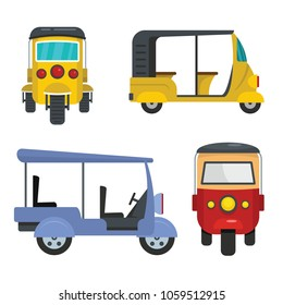 Tuktuk icons set. Flat illustration of 4 tuktuk vector icons for web
