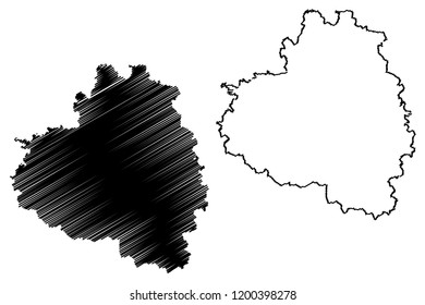 Tula Oblast (Russia, Subjects of the Russian Federation, Oblasts of Russia) map vector illustration, scribble sketch Tula Oblast map