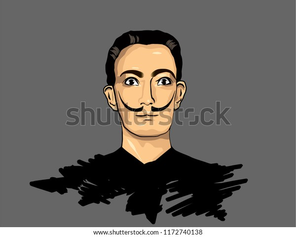 Tularussia August 2018 Portrait Famous Spanish Stock Vector (Royalty