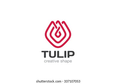 Tulip abstract flower Logo design vector template linear style. Creative shape lineart outline Logotype concept icon.