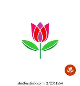 Tulip bud with leaves vector logo. Simple symmetry flat style.