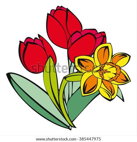 Tulip Daffodil Spring Flowers Cartoon Vector Stock Vektorgrafik