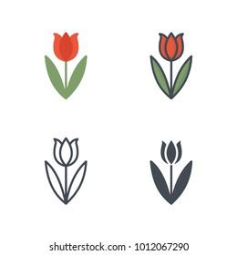 Tulip flat colored line silhouette icon