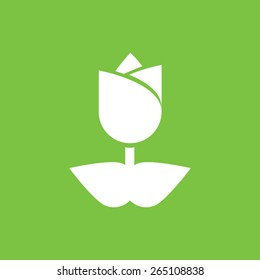 Tulip Flower blossom Icon on a green background