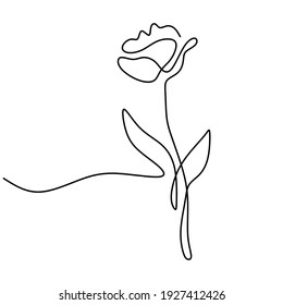 Tulip One Line Art Doodle Black and White Flower Modern Tulip Print Minimalist Flower Wall Art Abstract Plant Drawing Decor