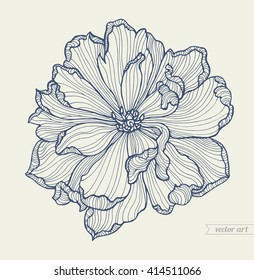 Tulip flower top view, line pattern. Vector tulip, flower artwork. Love bohemia concept for wedding invitation card, ticket, boutique logo, label. Gift for girl and women. Monochrome dark blue, beige