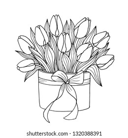 Tulip flowers arrangement in a box black and white ink hand drawing