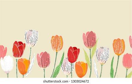 tulip flowers print for card, invitation, spring sale
