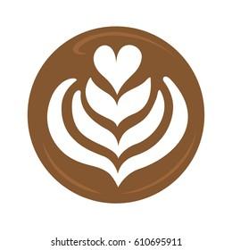 Tulip heart and rosetta latte art coffee design for logo, icon, symbol