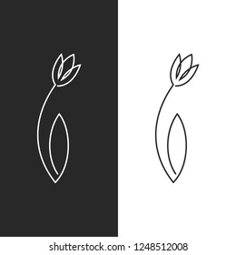 Tulip logo feminine leaf flower emblem for spa salon, hairdresser or beauty salon, simple linear art design in one solid line