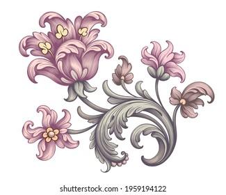 Tulip peony flower pink red vintage Baroque Victorian frame border floral ornament leaf scroll engraved retro pattern decorative design tattoo botany filigree calligraphic vector