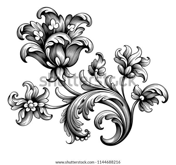 Tulip Peony Flower Vintage Baroque Victorian Stock Vector