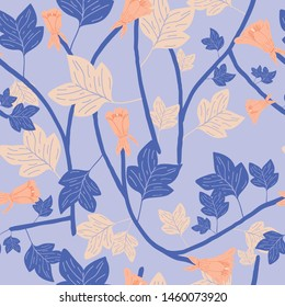 tulip poplar vector seamless pattern with purple background. Great for wallpaper,backgrounds,gifts,surface pattern design,packaging design projects, stationary,fabric