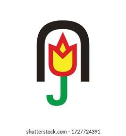 tulip vector logo design illustration