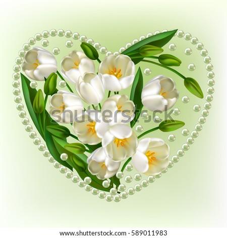 Tulip Wedding Decorations Heart Trendy Design Template Stock Vector